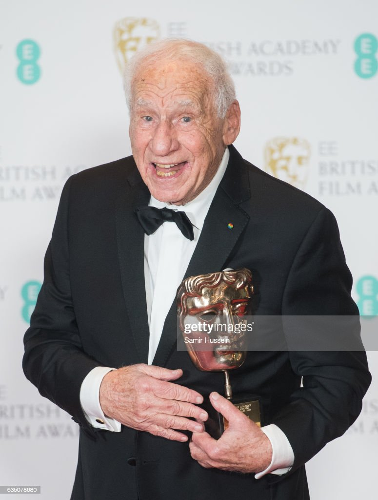 Mel Brooks with his BAFTA Fellowship award at the 70th EE British Academy Film Awards (BAFTA) at Royal Albert Hall on February 12, 2017 in London, England.