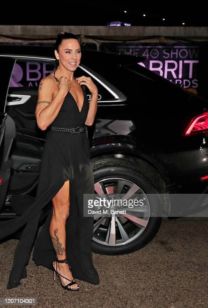 Mel C arrives in an Audi at the BRIT Awards at The O2 Arena on February 18, 2020 in London, England.