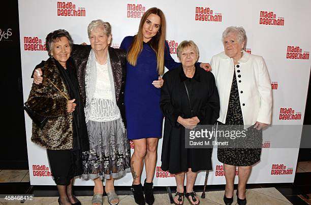 Mel C poses with Reallife Dagenham strikers Gwen Davis Eileen Pullen Sheila Douglass and Vera Sime attend an after party following the press night...