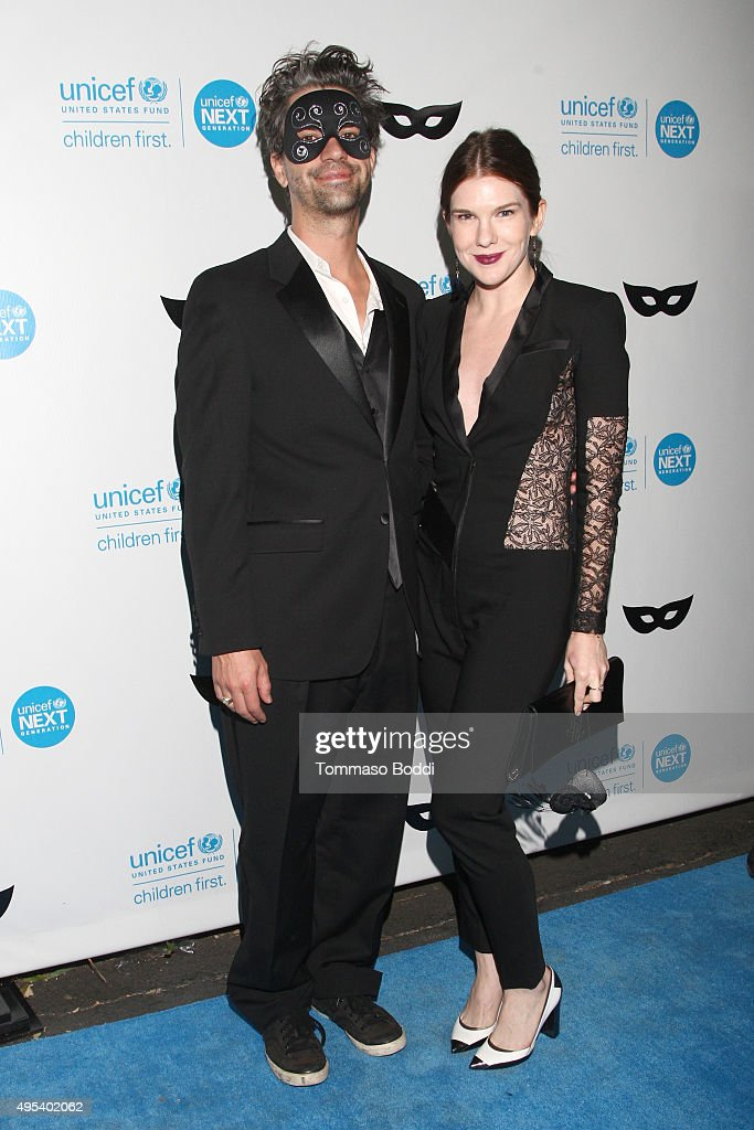 Mel Elias and actress Lily Rabe at the UNICEF Next Generation Third Annual UNICEF Black & White Masquerade Ball benefiting UNICEF's lifesaving programs, including continued efforts to protect children and families affected by the current refugee and migrant crisis at The Masonic Lodge at Hollywood Forever on October 30, 2015 in Los Angeles, California.