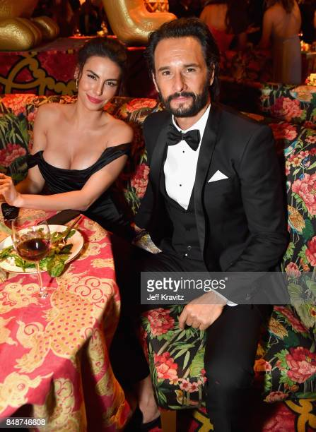 Mel Fronckowiak and Rodrigo Santoro at the HBO's Official 2017 Emmy After Party at The Plaza at the Pacific Design Center on September 17 2017 in Los...