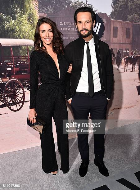 Mel Fronckowiak and Rodrigo Santoro attend the premiere of HBO's 'Westworld' at TCL Chinese Theatre on September 28 2016 in Hollywood California