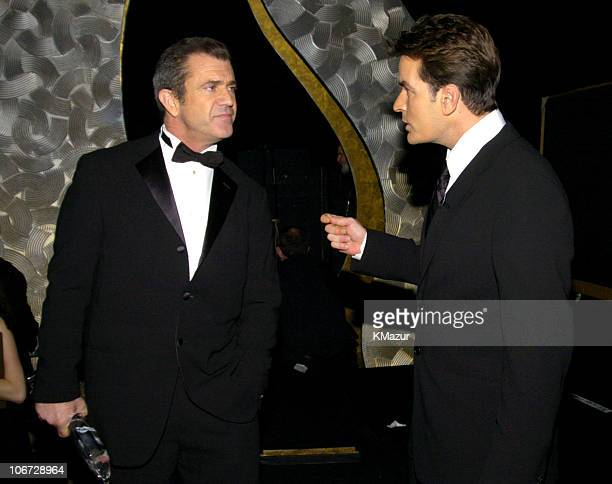 Mel Gibson and Charlie Sheen during The 30th Annual People's Choice Awards Backstage and Audience at Pasadena Civic Auditorium in Pasadena California...