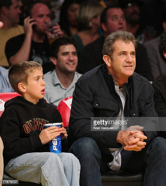 Mel Gibson and his son attend the Los Angeles Lakers vs Chicago Bulls game at the Staples Center on November 18 2007 in Los Angeles California