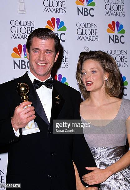 Mel Gibson and Jodie Foster during 53rd Annual Golden Globe Awards at Beverly Hilton Hotel in Beverly Hills California United States