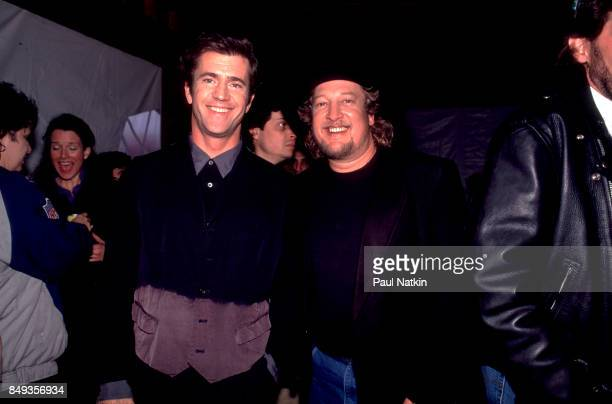 Mel Gibson and John Anderson before a video shoot for the song Amazing Grace for the soundtrack of the film 'Maverick' at Amy Grant's farm in...