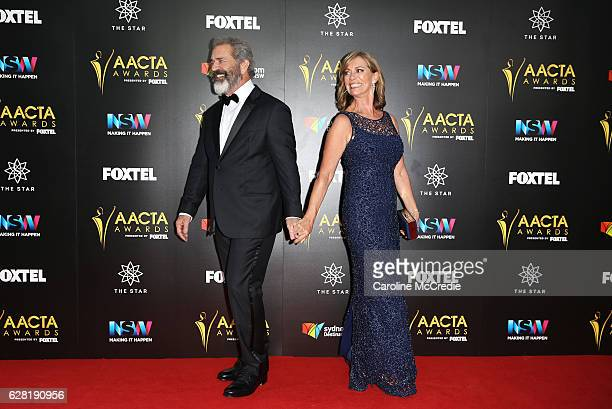 Mel Gibson and Kerry Armstrong arrive ahead of the 6th AACTA Awards Presented by Foxtel at The Star on December 7 2016 in Sydney Australia