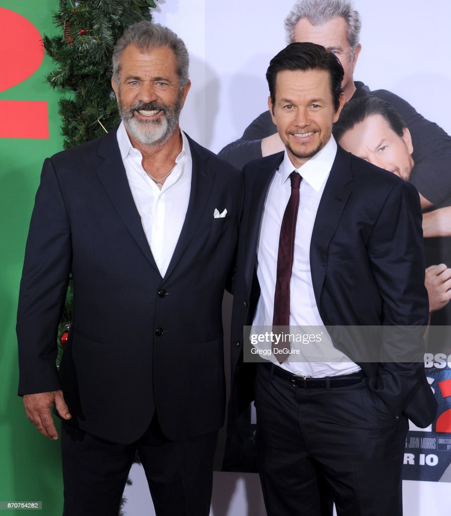 Mel Gibson and Mark Wahlberg arrive at the premiere of Paramount Pictures' 'Daddy's Home 2' at Regency Village Theatre on November 5, 2017 in Westwood, California.