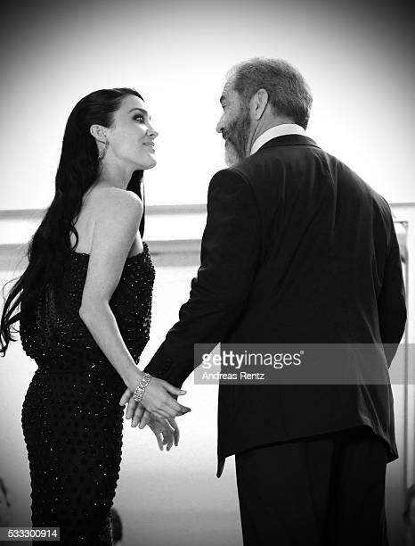 Mel Gibson and partner Rosalind Ross attend the 'Blood Father' Premiere during the 69th annual Cannes Film Festival at the Palais des Festivals on...