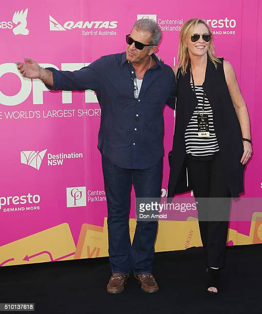 Mel Gibson and Rebecca Gibney arrive ahead of Tropfest 2016 at Centennial Park on February 14 2016 in Sydney Australia