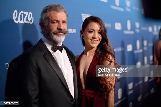 Mel Gibson and Rosalind Ross attend Michael Muller's HEAVEN presented by The Art of Elysium on January 5 2019 in Los Angeles California