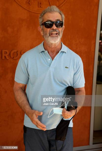 Mel Gibson attends the Men's Singles Final during day 15 of the 2021 Roland-Garros, French Open, a Grand Slam tennis tournament at Roland-Garros...