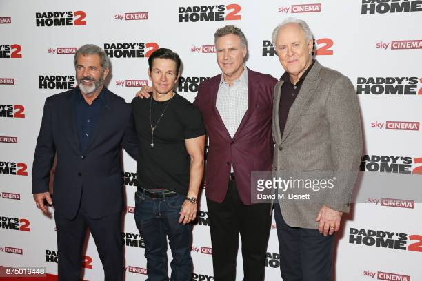Mel Gibson Mark Wahlberg Will Ferrell and John Lithgow attend the UK Premiere of 'Daddy's Home 2' at the Vue West End on November 16 2017 in London...