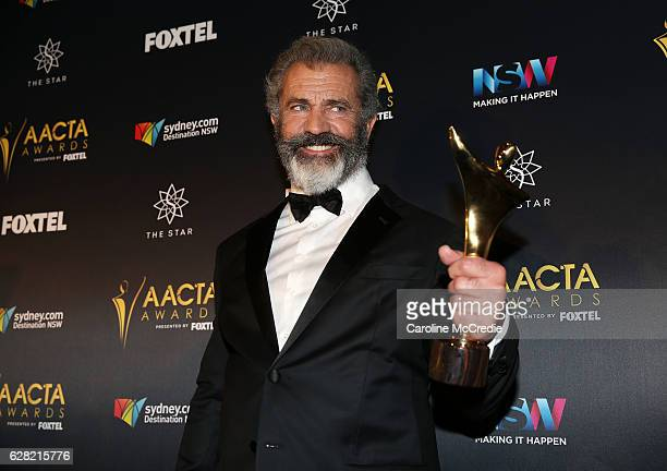 Mel Gibson poses in the media room after winning the AACTA Award for Best Direction for Hacksaw Ridge at the 6th AACTA Awards Presented by Foxtel at...