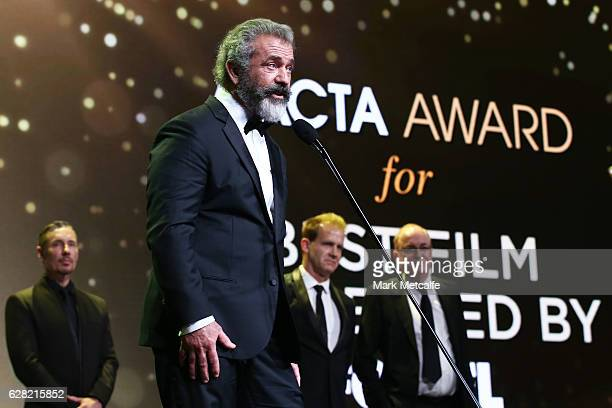 Mel Gibson speaks after winning the AACTA Award for Best Film presented by Foxtel for Hacksaw Ridge during the 6th AACTA Awards Presented by Foxtel...
