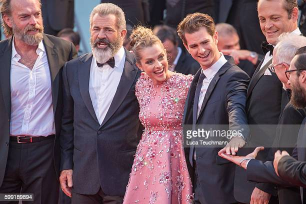 Mel Gibson Teresa Palmer and Andrew Garfield attend the premiere of 'Hacksaw Ridge' during the 73rd Venice Film Festival at Sala Grande on September...