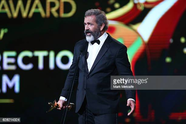 Mel Gibson wins the AACTA Award for Best Direction for Hacksaw Ridge during the 6th AACTA Awards Presented by Foxtel at The Star on December 7 2016...