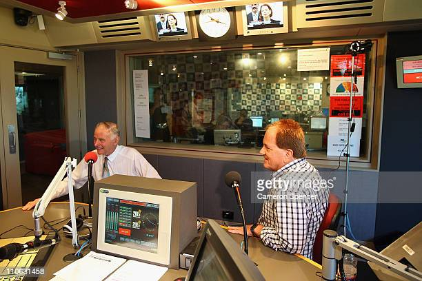 Mel Gibson's brother Chris Gibson and Independent John Hatton are interviewed at 2UE studio ahead of the NSW election on March 23 2011 in Sydney...