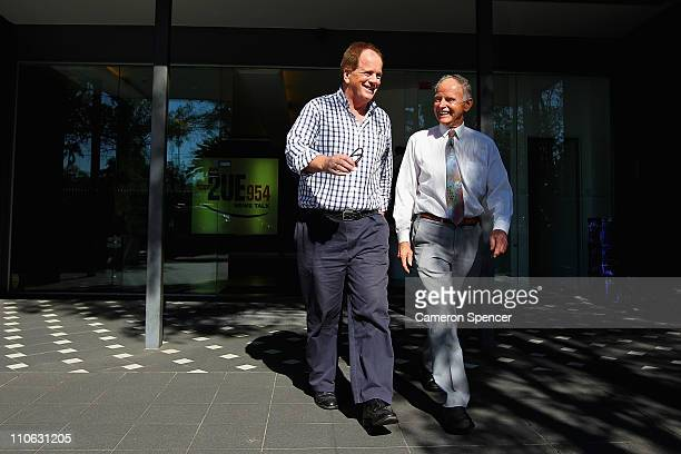 Mel Gibson's brother Chris Gibson and Independent John Hatton leave 2UE studio following an interview ahead of the NSW election on March 23 2011 in...