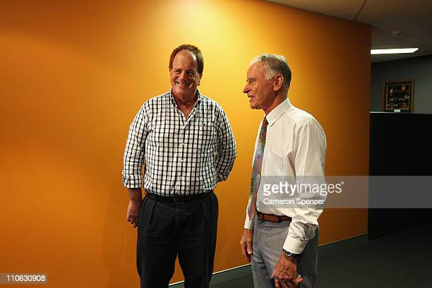 Mel Gibson's brother Chris Gibson talks to Independent John Hatton at 2UE studio ahead of the NSW election on March 23 2011 in Sydney Australia Chris...