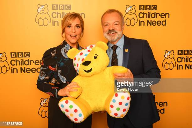 Mel Giedroyc and Graham Norton backstage at BBC Children in Need's 2019 Appeal night at Elstree Studios on November 15 2019 in Borehamwood England