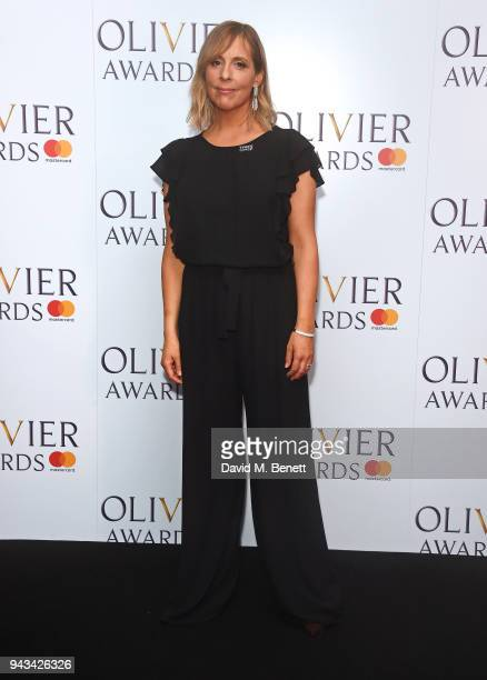 Mel Giedroyc poses in the press room during The Olivier Awards with Mastercard at Royal Albert Hall on April 8 2018 in London England