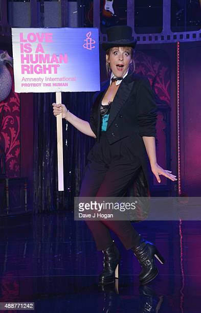 Mel Giedroyc rehearses during the Gala Charity of Richard O'Brien's Rocky Horror Show in Aide of Amnesty International which was broadcast live to...