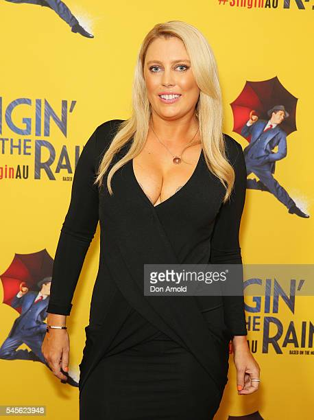 Mel Greig arrives for opening night of Singin' In The Rain at Lyric Theatre Star City on July 9 2016 in Sydney Australia