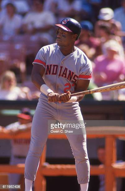Mel Hall of the Cleveland Indians circa 1986 bats against the California Angels at the Big A in Anaheim California