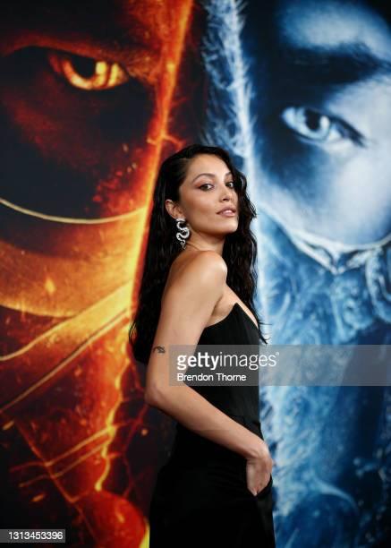 Mel Jarnson attends the Sydney premiere of Mortal Kombat at Hoyts Entertainment Quarter on April 20, 2021 in Sydney, Australia.