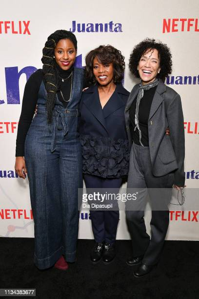 Mel Jones Alfre Woodard and Stephanie Allain attend the 'Juanita' New York screening at Metrograph on March 07 2019 in New York City