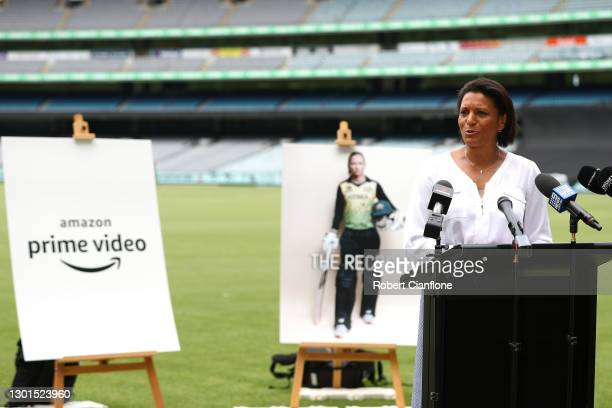 Mel Jones speaks during the launch of THE RECORD documentary by Amazon Prime featuring the Australian Women's cricket team's successful 2020 Cricket...