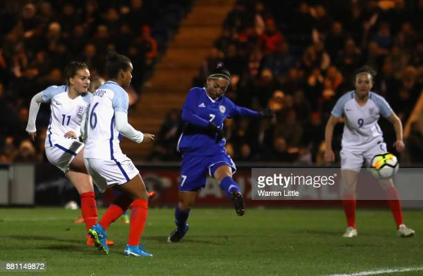 Mel Lawley of England scores the first goal during the FIFA Women's World Cup Qualifier between England and Kazakhstan at Weston Homes Community...