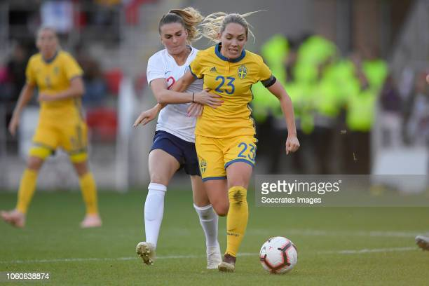 Mel Lawley of England Women Chioma Ubogagu of England Women during the International Friendly Women match between England v Sweden at the Aesseal New...