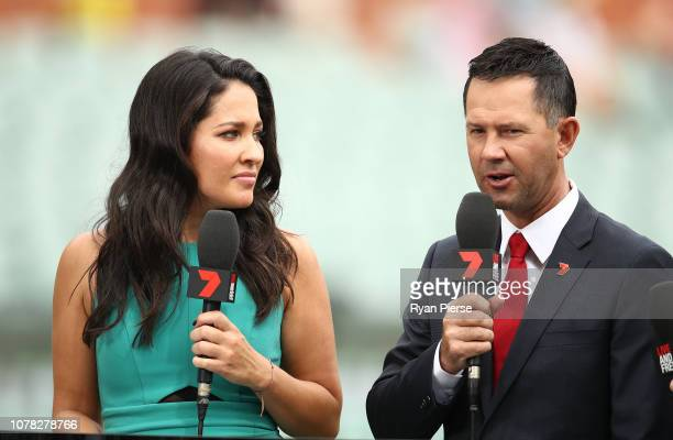 Mel McLaughlin and Former Australian Captain Ricky Ponting commentate for Seven during day two of the First Test match in the series between...
