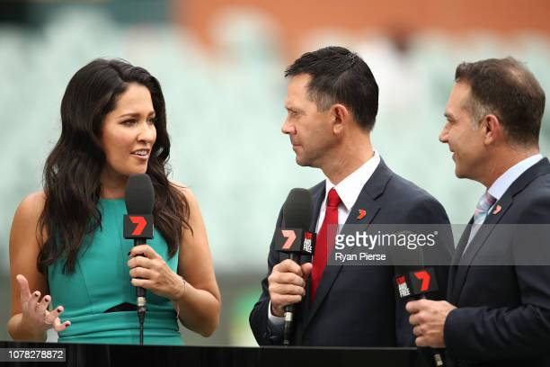 Mel McLaughlin and former Australian Test Cricketers Ricky Ponting and Michael Slater commentate for Seven during day two of the First Test match in...