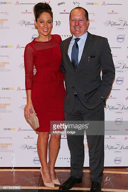 Mel McLaughlin and Russell Howcroft of Channel Ten pose at the 10th anniversary celebration of The Million Dollar Lunch at the Park Hyatt on October...