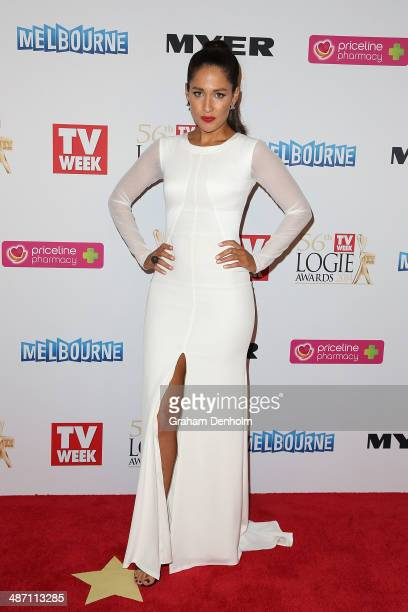 Mel McLaughlin arrives at the 2014 Logie Awards at Crown Palladium on April 27 2014 in Melbourne Australia
