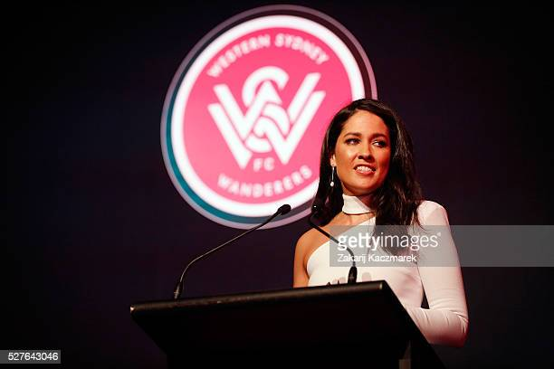 Mel McLaughlin speaks on stage during the 2016 Western Sydney Wanderers Awards at Qudos Bank Arena on May 3, 2016 in Sydney, Australia.