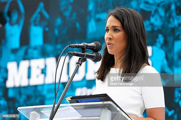 Mel McLaughlin speaks on stage during the Sydney FC 10 Year Anniversary Lunch at Allianz Stadium on March 16, 2015 in Sydney, Australia.