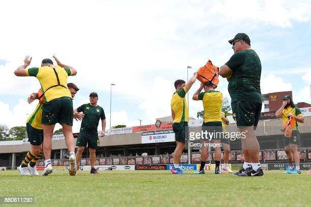 Mel Meninga watches on during the Australian Kangaroos Rugby League World Cup training session at Langlands Park on November 28 2017 in Brisbane...