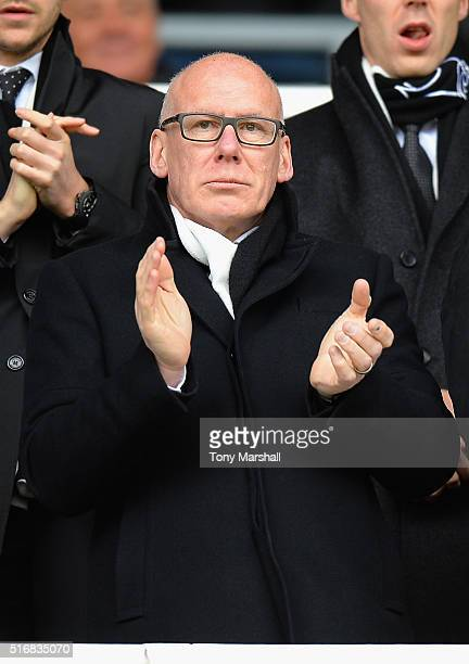 Mel Morris Owner of Derby County applauds his team during the Sky Bet Championship match between Derby County and Nottingham Forest at the iPro...