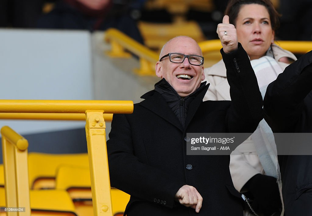 Mel Morris the Chairman of Derby County during the Sky Bet Championship match between Wolverhampton Wanderers and Derby County at Molineux on February 27, 2016 in Wolverhampton, United Kingdom.