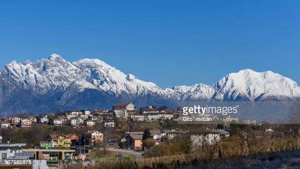 mel (belluno) - panorama - belluno stock pictures, royalty-free photos & images