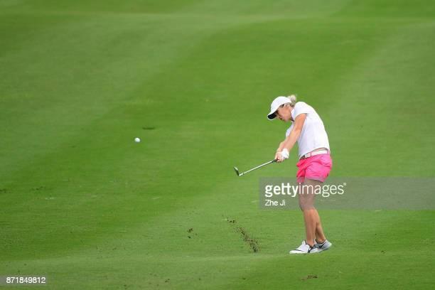 Mel Reid of England plays a shot during the Blue Bay LPGA at Jian Lake Blue Bay golf course on November 8 2017 in Hainan Island China