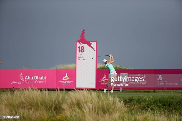 Mel Reid of England tees off on the 18th hole during Day One of the Fatima Bint Mubarak Ladies Open at Saadiyat Beach Golf Club on November 1 2017 in...