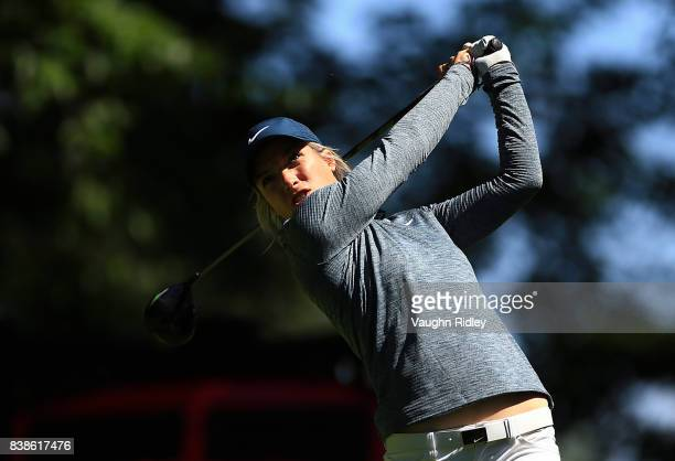 Mel Reid of England watches her tee shot on the 18th hole during round one of the Canadian Pacific Women's Open at the Ottawa Hunt Golf Club on...