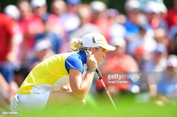 Mel Reid of Team Europe lines up a putt during the morning foursomes matches of The Solheim Cup at Des Moines Golf and Country Club on August 18 2017...