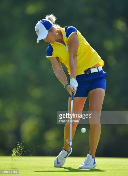 Mel Reid of Team Europe plays a shot during the second day afternoon fourball matches of The Solheim Cup at Des Moines Golf and Country Club on...