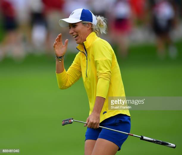 Mel Reid of Team Europe reacts during the second day morning foursomes matches of The Solheim Cup at Des Moines Golf and Country Club on August 19...